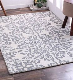 Buy Anuloma Ethnic Pattern Wool 6 X 4 Feet Grey Hand Tufted Carpet by Mudramark Online - Loop Pile Carpets - Flooring - Furnishings - Pepperfry Product Blush And Grey Living Room, Subtle Background, Carpets Online, Wood Stairs, Ethnic Patterns, Carpet Colors, Modern Carpet, Carpet Flooring, Carpet Runner