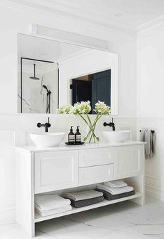 White Marble Bathrooms, White Vanity Bathroom, French Bathroom, White Bathroom Cabinets, Bathroom Basin Cabinet, Bathroom Cleaning, Bathroom Laundry, Upstairs Bathrooms, Bathroom Styling