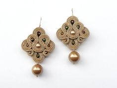 Golden Pearls. Hand embroidery soutache earrings by AlliumFlower