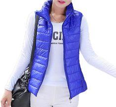 Women Winter Stand Collar Full Zipepr Outwear Quilted Waistcoat Vest Blue Vests, Winter, Jackets, Women, Fashion, Down Jackets, Moda, Fashion Styles, Jacket
