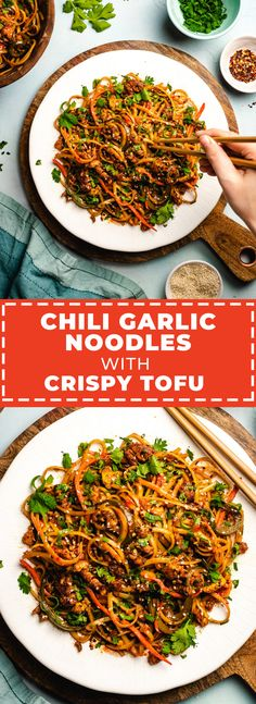 Chili Garlic Noodles with Crispy Tofu - Host The Toast - Vegetarian / Vegan - - Asian Recipes - Spicy Asian Noodles, Tofu Noodles, Garlic Noodles, Tofu Chili, Vegan Chili, Spicy Chili, Tofu Recipes, Asian Recipes, Vegetarian Recipes