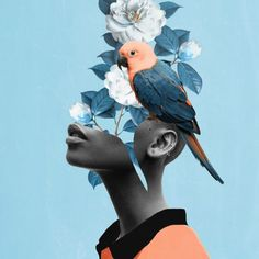 Loving this pic Girl with parrot by via Art And Illustration, Collage Kunst, Art Collages, Collage Artists, Drawn Art, Collage Design, Photocollage, Fashion Collage, Expo