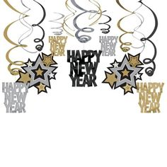 Check out Hanging Foil Swirl Decorations - Decorations - Other Decorations at Birthday in a Box from Birthday In A Box New Year Holidays, Christmas And New Year, Holidays And Events, Family Holiday, Party Fiesta, Nye Party, Party Hire, Deco Nouvel An, Silvester Diy