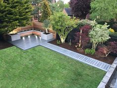 Maybe a deckbridge instead of a sidewalk in the background – Backyard Landscaping - Garden Design - Dream House Back Garden Design, Modern Garden Design, Modern Design, Small Backyard Design, Backyard Patio Designs, Small Backyard Landscaping, Backyard Ideas, Nice Backyard, Landscaping Design