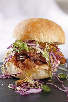 There's a Newf in My Soup!: Bon Appetit Cook the Cover: Fried Chicken Sandwich with Jalapeno Slaw and Spicy Mayo