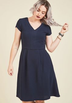 Kind Character A-Line Dress. Your good-natured smile comes naturally, and with the help of this navy blue dress, now your style does too. #blue #modcloth
