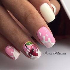 It is the design of nails with a pattern of cherries in milk.