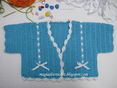 Magia do Crochet: Como fazer - casaco de bébé azul (crochet)