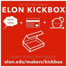 DEADLINE IS MONDAY DECEMBER 19! There's still time to get your application in!  Elon Student  Good idea  Elon Kickbox  Apply for an Elon Kickbox and make your idea a reality! Learn more (link in our bio). #makeelon #makerhub #elonkickbox #elonuniversity