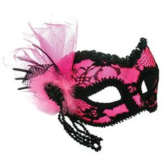 pretty in pink masquerade ball   ... pink and black mask with lace decoration bright pink pretty eyemask