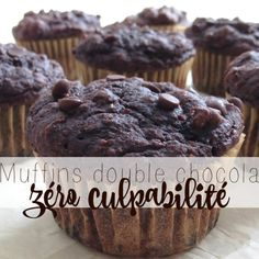 Muffin double chocolate zero guilt very soft.t do not replace the sugar otherwise it tastes like nothing! Swells very much in cooking Muffins Double Chocolat, Cas, Dessert Aux Fruits, Muffin Bread, Good Food, Yummy Food, Tonne, Something Sweet, Healthy Baking
