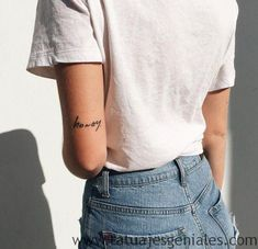 Xx small words tattoo, back of arm tattoo small, small arm tattoos, f Wörter Tattoos, Elbow Tattoos, Word Tattoos, Trendy Tattoos, Small Tattoos, Sleeve Tattoos, Tatoos, Tatoo Designs, Finger Tattoo Designs