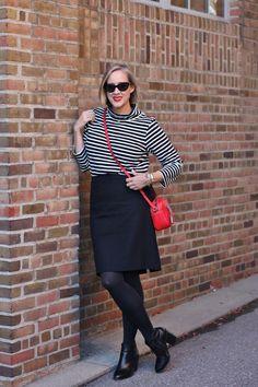 black and white striped turtleneck, black wool pencil skirt, red j crew signet bag