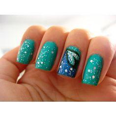 Light and dark blue nail art design