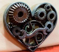Steampunk Heart, Wedding Decor, Gift for Mechanic Dawn Dishwashing Liquid, Steampunk Heart, Scrap Metal Art, Be Natural, Heart Art, Gears, Wedding Decorations, Wedding Ideas, Old Things