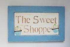 Cottage Style Cupcake Sign Sweet Shoppe Bakery Cafe distressed wood OOAK #handmade #Cottage