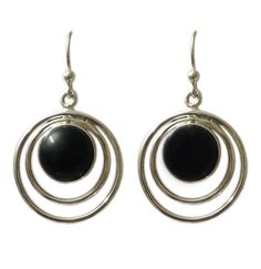 Double Rounded Wire Designed Inside Black Onyx Hoop Earring On Sterling Silver #Articulate #Hoop