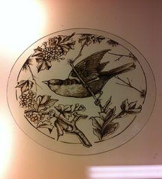 After the matting,working on the bird and leaf detail. Mark Howard Glassworks ,Melbourne, Australia
