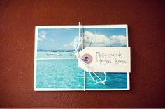 postcards, pre addressed to bride and groom to be mailed prior to leaving with message or trip highlight from all guest