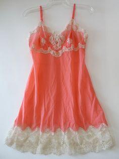 cb3a4c8220b vintage slip lingerie 36 D Hollywood Vassarette Designer Line coral ecru  lace