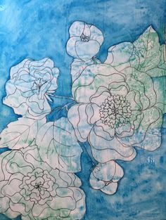 Peonies in Blue. 9x12 mixed media.