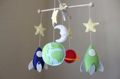 "Baby Crib Mobile - Baby Mobile - Decorative Baby Nursery Mobile - ""Rocket Ship Ready for Blastoff"" Design (You can pick your colors) $85"