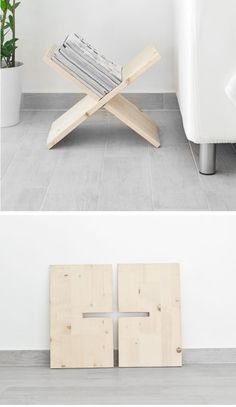 Wooden, X-shaped Magazine Holder | Click Pic for 20 DIY Small Apartment Organization Ideas for the Home | Easy Storage Ideas for Bedrooms Dollar Stores