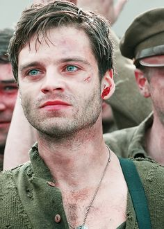 Bucky Barnes - Capt America the 1st Avenger ---- all I have to say is... HOLY CRAP CHECK OUT HIS EYES!! how'd I miss this watching the movie??