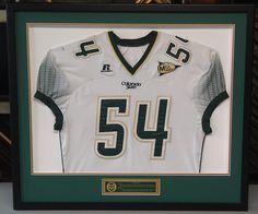 Custom framed CSU Rams jersey framed by FastFrame of LoDo.