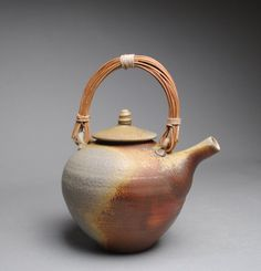 Wood Fired Teapot with Handmade Cane Handle by JohnMcCoyPottery