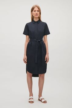 COS image 8 of Belted shirt dress in Dark Navy