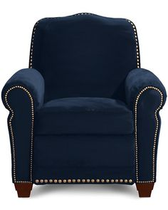 Chairs in Mr. O'Brien's office - Faris Recliner by La-Z-Boy in dark blue leather w/o gold nail trim