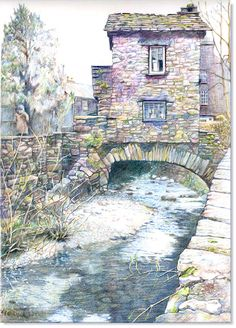 "UKCPS - World of Coloured Pencil Exbition 2012. ""The Bridge House – Ambleside"" Malcolm Cudmore UKCPS 24 x 36cm Derwent Artist on Canson Bristol"