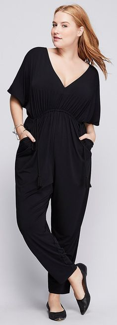 Plus Size Ruched-Waist Jumpsuit Mature Women Fashion, Trendy Plus Size Fashion, Curvy Fashion, Plus Size Jumpsuit, Pretty Outfits, Plus Size Women, Dress To Impress, Casual Looks, Plus Size Outfits