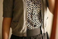 cardigan, cute, fashion, floral, flowers, print, skirt, top