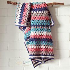 baby blanket | crochet granny stripes | pure wool | newborn gift navy - watermelon - stone- teal - white