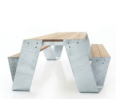 galvanized metal designs | Galvanized sheet metal ribbons together this contemporary park bench ...