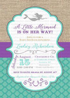 mermaid baby shower invitation bridal shower by katiedidesigns