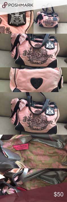 Juicy Couture Handbag baby pink color. Juicy Couture gorgeous pink brand New with a TAG, never been used, but was in the dusty area and need good clean, look at the Pic, that why I lowered the price. Juicy Couture Bags Totes