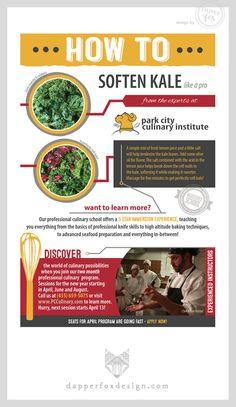 Park City Culinary Institute by Dapper Fox Design - How to Soften Kale, How to cook Kale    //   Website Design - Branding - Logo Design - Brand - Entrepreneur Blog and Resource - Advertisement design - ad design