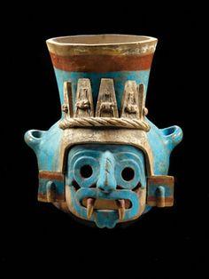 Ceramic Vessel Featuring Tlaloc 1440-1469 Aztec