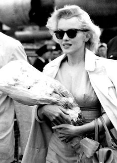 "Marilyn Monroe on her arrival in England to film ""The Prince and The Showgirl"", 1956."