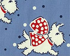 White Terrier Scottie Westie Fabric With Scarf by MyHomeLoves on Etsy