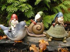 3 Gnomes Riding on Animals Figurine Statue Acorn Gnomes Whimsical Garden Statue Mini Fairy Garden, Gnome Garden, Dream Garden, Fairy Gardens, Gnome Statues, Garden Statues, Garden Sculpture, Forest Creatures, Woodland Creatures