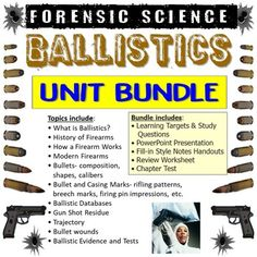 This bundle includes all products from my Forensic Science Ballistics Unit.This bundle includes:• Learning Targets and Study Questions• PowerPoint Presentation• Fill-in Style Notes Handouts• Review Worksheet• Chapter Test*Vocabulary Assignment is sold separately in the Forensic Science Vocabulary Bu... Science Vocabulary, Science Notes, Learning Targets, College Packing, Forensic Science, Forensics, Diaries, Fill, Presentation
