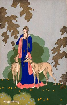 Giovanni Meschini (1888-1977) - Medieval lady with greyhounds