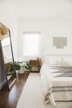 White brown and green bedroom