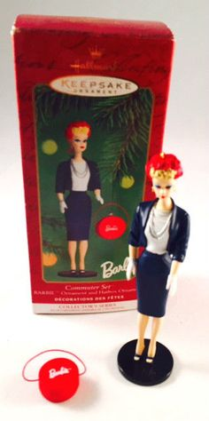 Hallmark Keepsake Ornament Barbie Commuter Set Barbie & Hatbox 2000 In Box