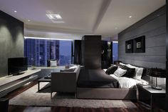 Contemporary bedroom. Who wouldn't want to have this!?