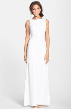 Free shipping and returns on Dessy Collection Crepe Trumpet Gown at Nordstrom.com. A narrow trumpet silhouette elongates the figure on a silken crepe gown refined by a graceful bateau neckline that plunges to a deep open back.